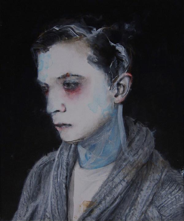 Antoine Cordet canvas toile peinture painting portrait art artist artiste peintre acrylic Oysters and heroin project
