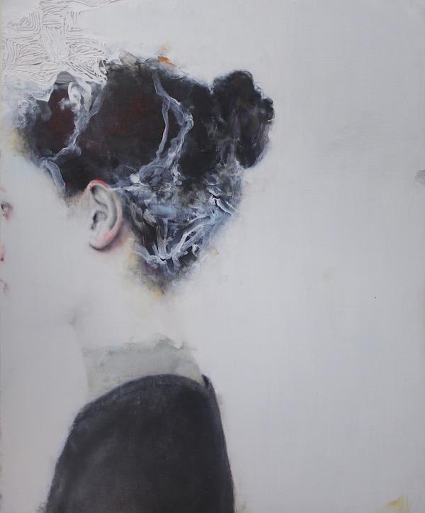 Antoine Cordet canvas toile peinture painting portrait art artist artiste peintre acrylic Swimming lesson in lava