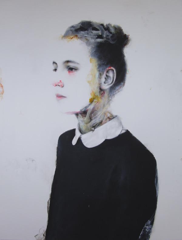 Antoine Cordet canvas toile peinture painting portrait art artist artiste peintre acrylic Yellow scientist