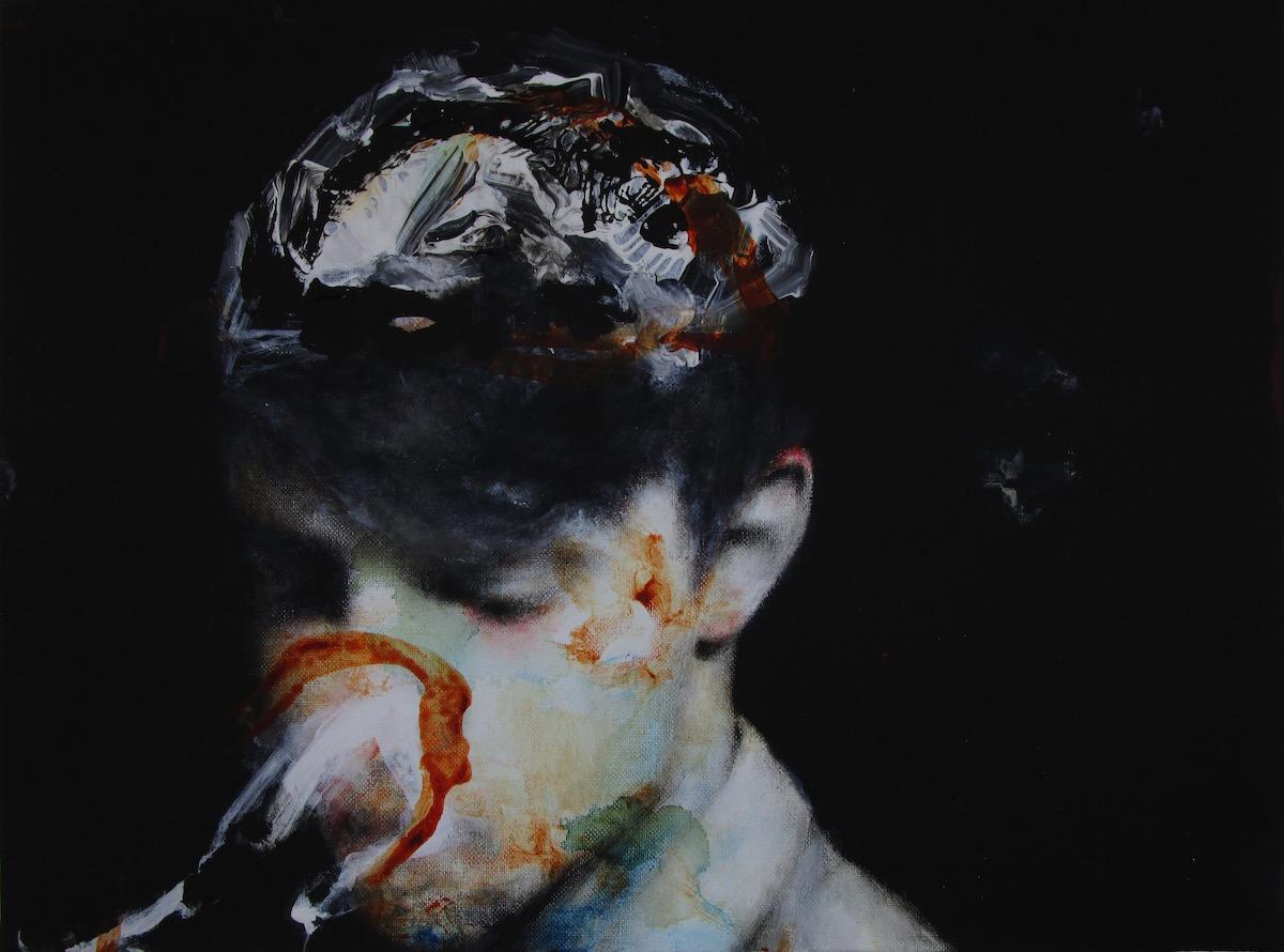 Antoine Cordet canvas toile peinture painting portrait art artist artiste peintre acrylic Itelligentzia silence hurray