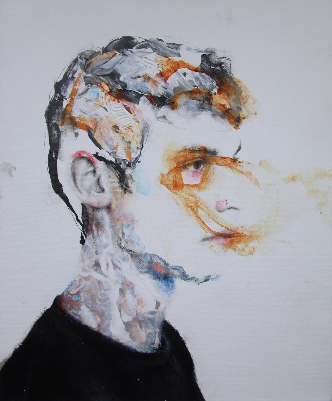 Antoine Cordet canvas toile peinture painting portrait art artist artiste peintre acrylic madel says my