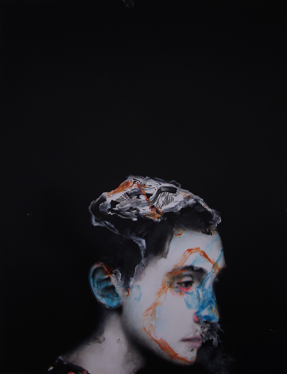 Antoine Cordet canvas toile peinture painting portrait art artist artiste peintre acrylic traveling by ufo boy
