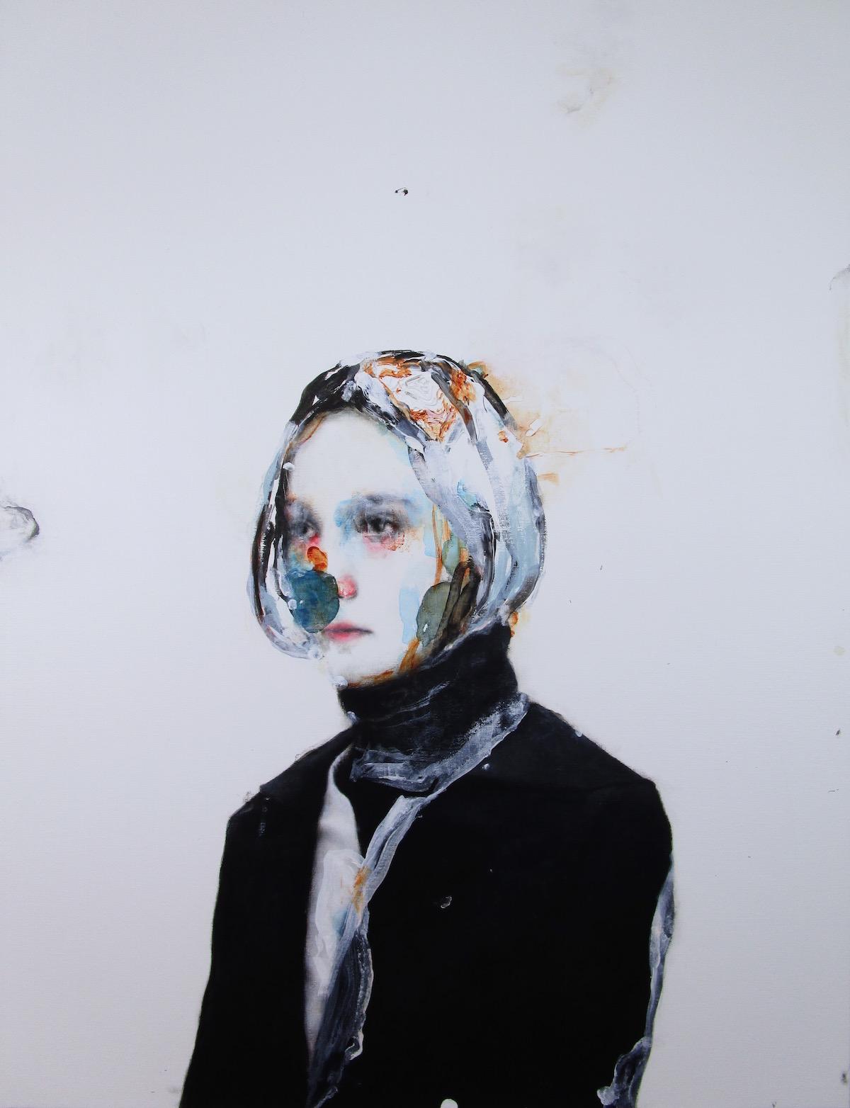 Antoine Cordet canvas toile peinture painting portrait art artist artiste peintre oil acrylic purple mood