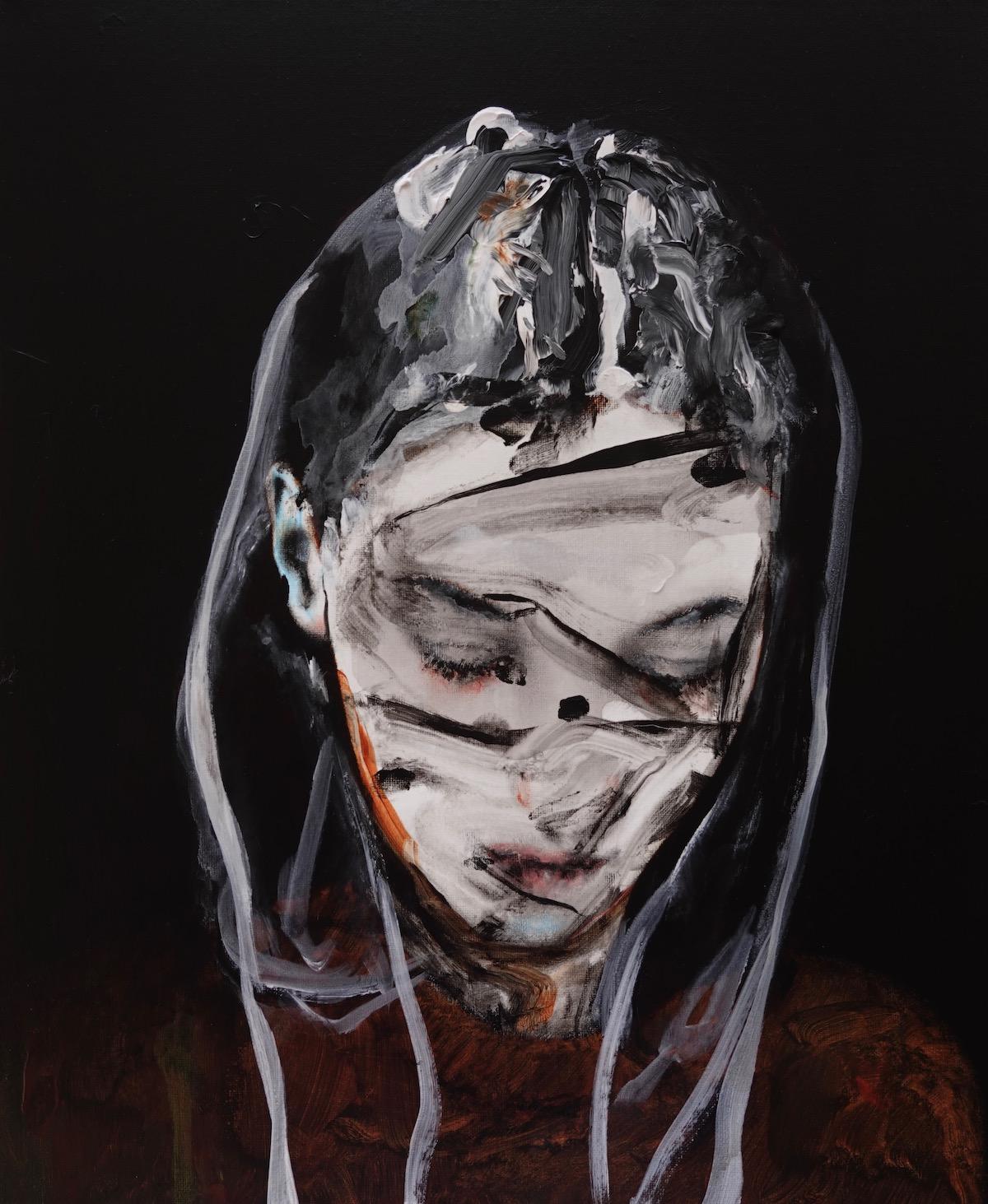antoine cordet canvas toile peinture painting portrait art artist artiste peintre acrylic oil penny black